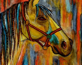 Original acrylic painting,  horse quietly waiting for you, tans, blues, ochers, reds