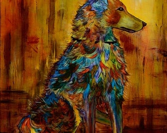 Original, modern, painting, dog, with attitude, warm earth tones, size 24x30, southwest style