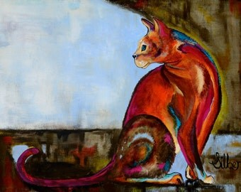 Original cat painting, a sitting cat musing, warm bright colors, blues, browns, reds, and hot pinks, size 18x24,