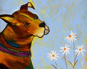 Painting, Perfect for a childs room, whimsical dog & flower painting, light summer afternoon, dog and flowers