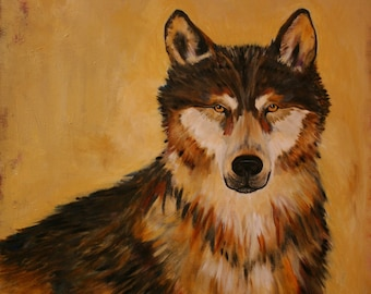 Original painting, wolf, watching, painted in warm color palate, earth tones, size 30x24