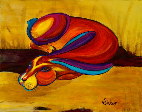 Abstract painting, Jack Rabbit, original design, bold color