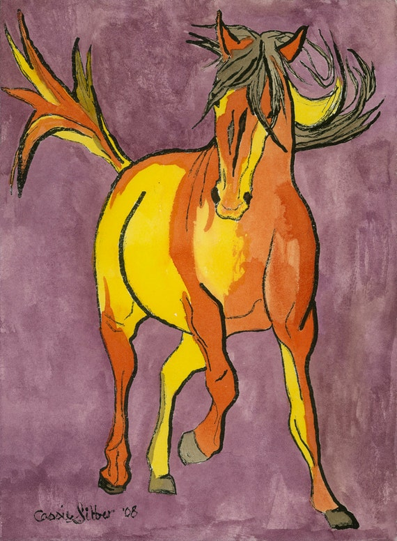Original print, horse art, lithograph print, hand painted with watercolor, size 8x10