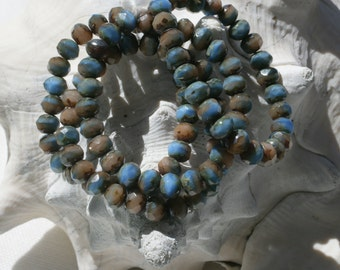 6 x 4mm . Czech Pressed Glass Rondells  .  Blue and Tan . 25 beads