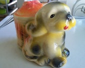 Vintage Chalkware Dog Bank Brightly Colored and Sweet as Can Be