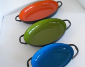 Colorful Bowls - Mid Century Modern Enamel on Metal Set of 3 Bowls Orange Avocado Turquoise