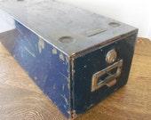 Industrial Rustic Metal File Drawer - Single Drawer Navy Blue Allsteel File with Lock