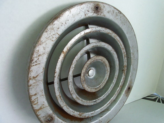 Rustic Atomic Industrial Metal Vent Cover - Space Age Metal Vent for Art Steampunk Repurpose