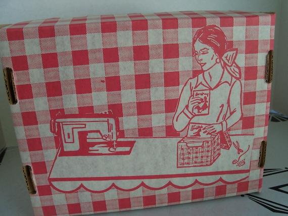 Vintage Sewing Pattern Storage Box - Cardboard Red White Graphics Storage Box for Sewing Patterns