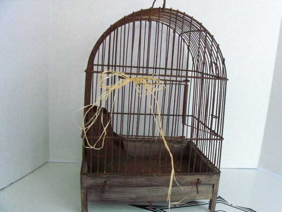 Vintage Rustic Birdcage - Rusty Wire Birdcage with Feeder Primitive Wood Base with Latch