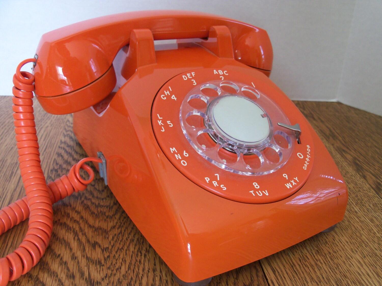 reserved for patricia vintage mod orange telephone 1970s. Black Bedroom Furniture Sets. Home Design Ideas