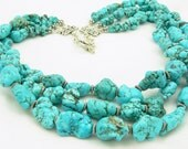 Turquoise Statement Necklace - Gemstone Necklace - Sterling Silver - Multi Strand Necklace - Artisan Jewelry