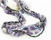 Amethyst Gemstone Chunky Multi Strand Necklace - Purple Necklace - Artisan Jewelry