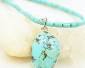 Turquoise Necklace - Wire Wrapped Pendant - Sterling Silver - Unisex Necklace - Casual Jewelry - Artisan Jewelry
