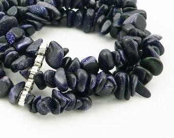 Blue Goldstone Triple Strand Multi Strand Stretch Bracelet - Sterling Silver - Chunky Bracelet - Artisan Jewelry