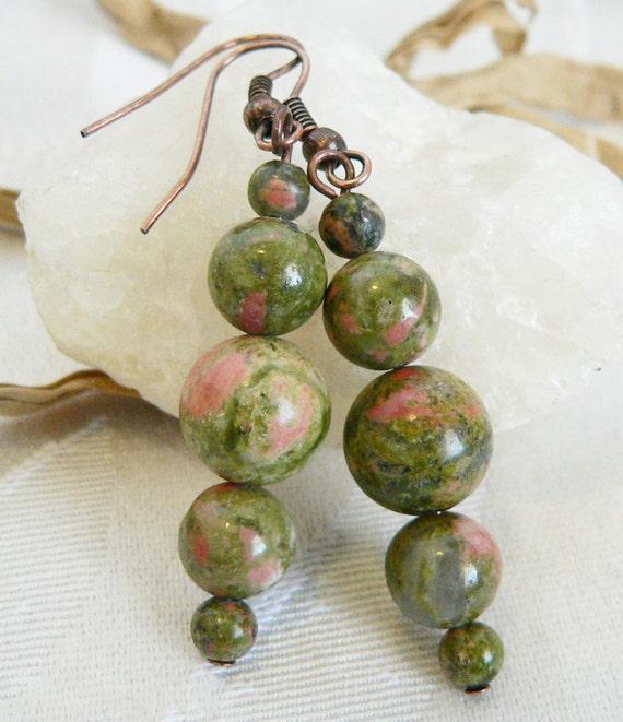 Unakite Gemstone and Copper Dangle Earrings - Green Earrings - Earthy and Elegant - Artisan Jewelry