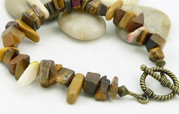 Tiger's Eye and Mookaite Jasper Chunky Bracelet - Gemstone Bracelet - Earthtones - Artisan Jewelry