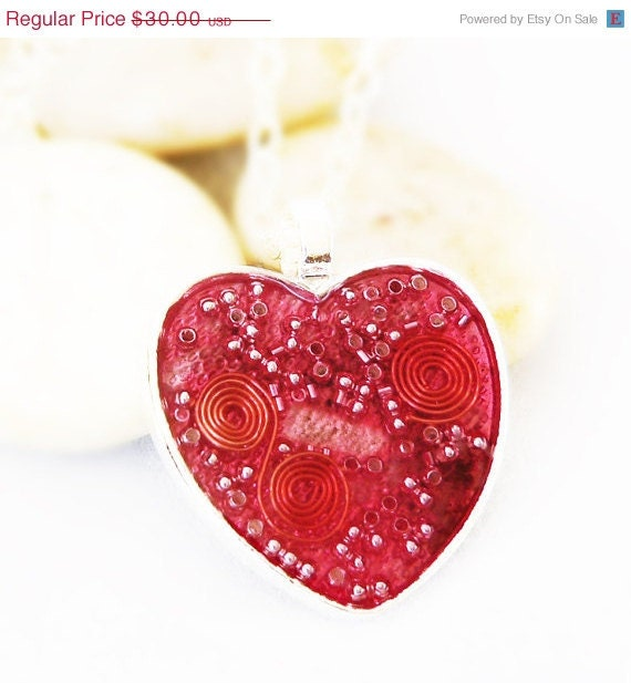 Valentines SALE Valentine Heart Orgonite Energy Pendant in Hot Pink/Rose