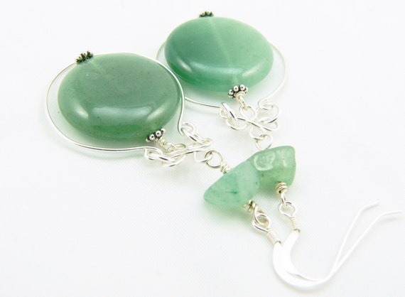 Green Aventurine Gemstone and Sterling Silver Wire Wrapped Long Dangle Earrings - Celebrity Gift - CMA Gift Lounge - Artisan Jewelry