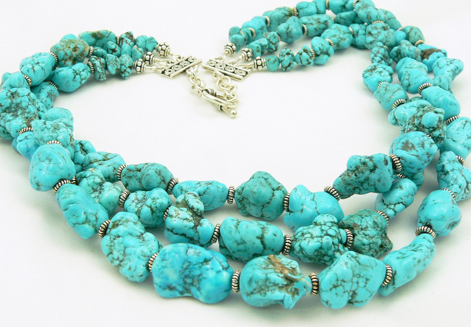 turquoise statement necklace gemstone necklace sterling