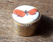 Porcelain Pill Box with Butterfly