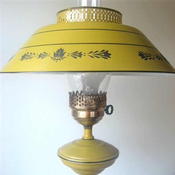 tole floor lamp 1950s mustard yellow reserved for pat. Black Bedroom Furniture Sets. Home Design Ideas