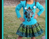 OOAK Girls Custom Hand Painted Teal & Brown Damask Long Sleeve Dress - Made To Order - Available in 2 3  4 5T
