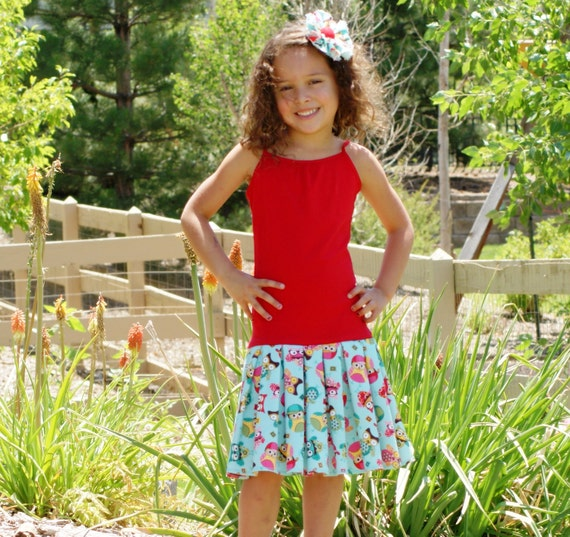CLEARANCE SALE Girls Owl Red & Teal Tank Dress - Last One S 6/6X