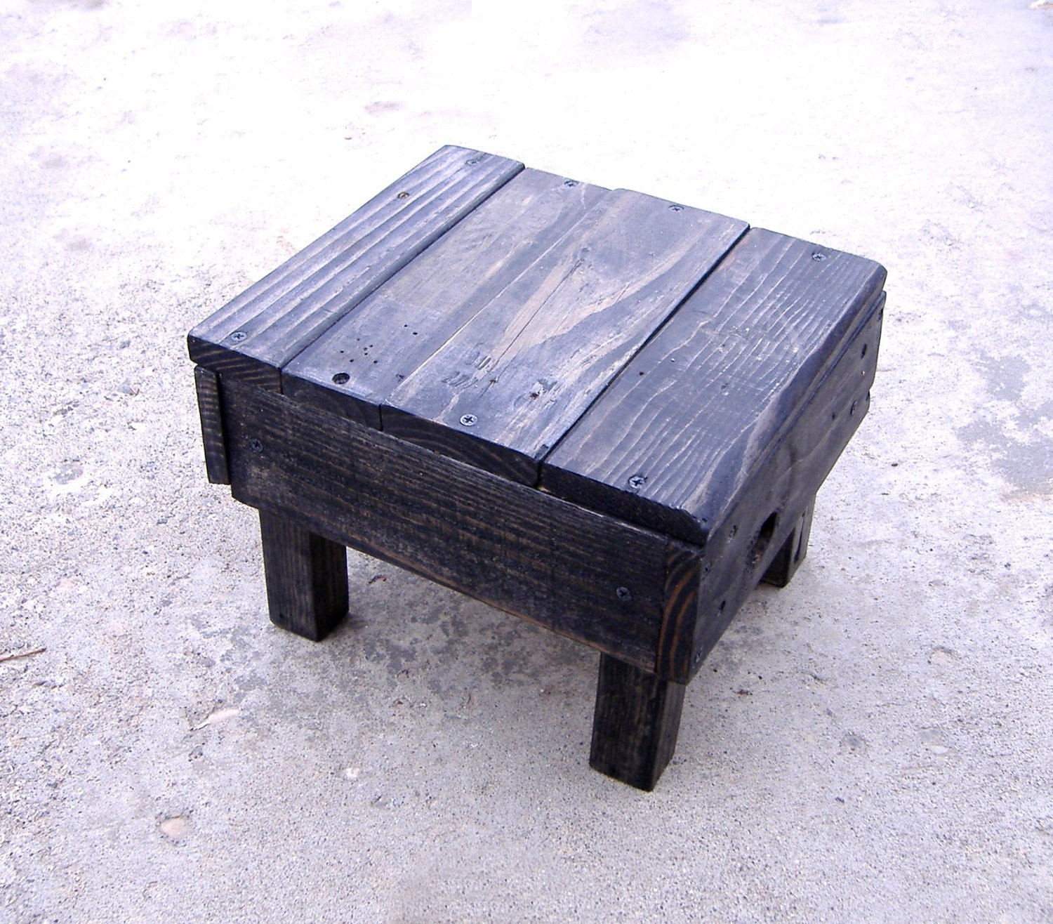 Handmade Repurposed Pallet Wood Footstool Stepping By IndustREAL. Full resolution‎  picture, nominally Width 1500 Height 1316 pixels, picture with #484E83.