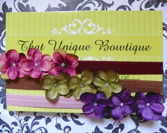 Triple Flower Hydrangea Headband Set...Baby Bows...Baby Girl Headband...Newborn Headband