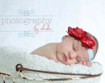 Newborn Headband...Red Hydrangea Headband...Baby Bows...Baby Girl Headband...Baby Headband...Red and Aqua... Headband