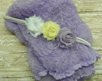 Lavender Cheese Cloth Wrap with Headbands...Baby Bows...Baby Headband...Newborn Wrap...Newborn Portrait Prop...Photography Prop