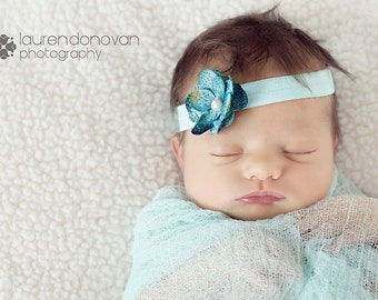 Newborn Soft Aqua Cheesecloth Wrap and Headband Set...Baby Wrap...Baby Headband...Photo Prop...Newborn...Wrap Set...Aqua...Flower Headband