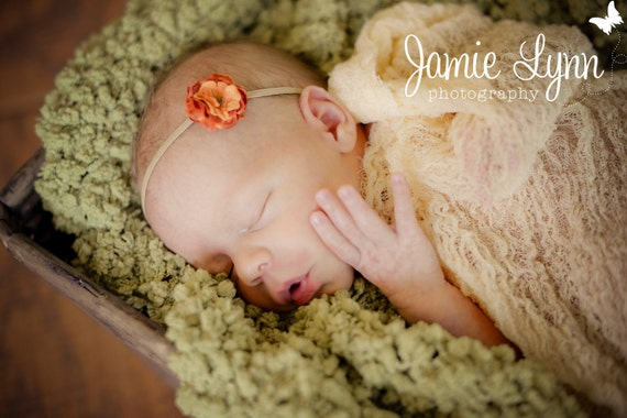 Apricot Cheesecloth Wrap...Baby Bows...Wrap and Headband Set...Photography Prop...Newborn Portrait Prop