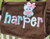 Large Raw Edge Messenger Diaper Bag with Owl Applique- Brown, turquoise, pink