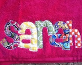 Personalized Applique Beach or Bath Towel