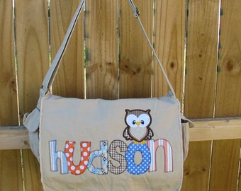 Applique Raw Edge Messenger Bag- Personalized