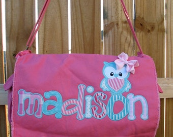 Large Raw Edge Messenger Bag or Diaper Bag with Personalized Name and OWL applique- Pink and Turquoise