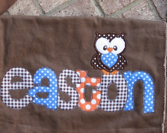 Large Raw Edge Messenger Bag or Diaper Bag with Personalized Name and OWL applique