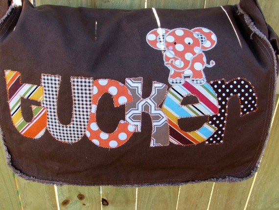 Large Raw Edge Messenger Bag or Diaper Bag with Personalized Name and ELEPHANT applique- Blue, Orange, Brown