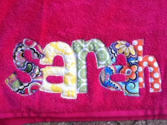 Personalized Applique Beach or Bath Towel