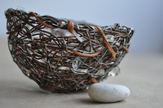 Handmade Wire Birds Nest Sculpture with Leather, Sterling Silver, Copper and Citrine