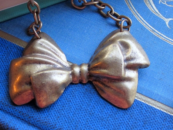 Vintage Brass Bow-Tie Necklace, Bow Necklace, Ribbon Necklace, Bowtie