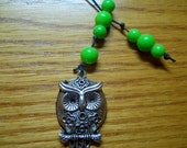 Bookmark, whoooo wouldn't love this owl, and apple green beads all money for Charity