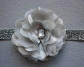 Flower Headband - Super Glam Silver Satin Flower Headband