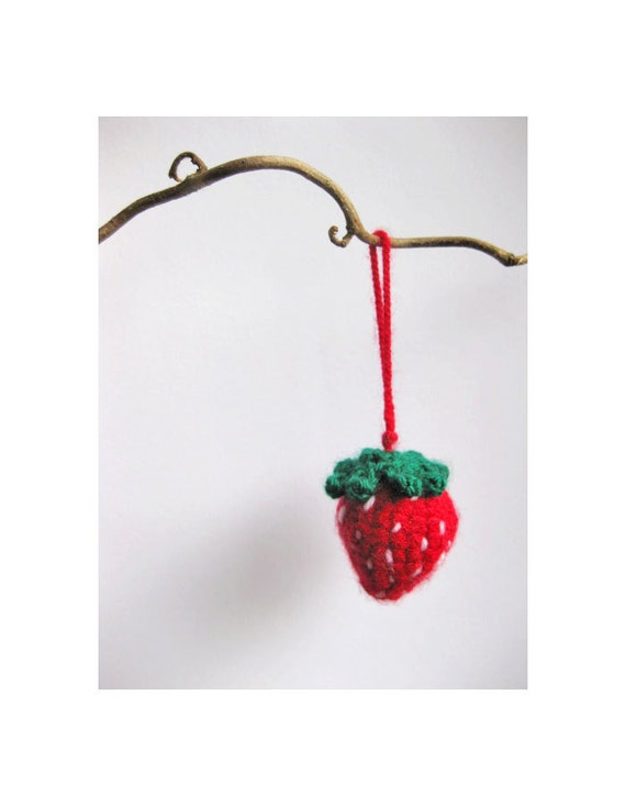 Little strawberry decoration - amigurumi cute sweet dangle