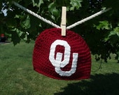 University of Oklahoma, OU, Sooners, Crimson and White, Football, Basketball, Baseball Hat (Newborn - 4T) Great for Photo Prop