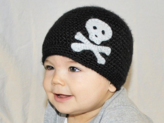 Crocheted Boys Crossbones Hat Newborn thru 4T Great for Photo Props