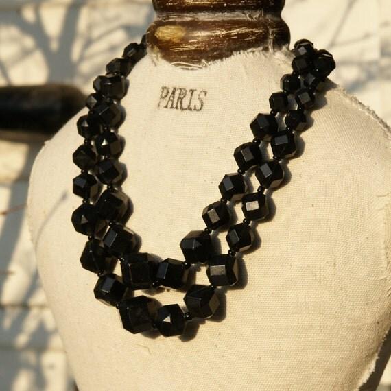 Vintage Bead Necklace.  Black Lucite Vintage Bead Necklace.  2 Tier, West Germany
