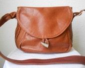 Large Honey Brown LEATHER Saddle Hobo Bag
